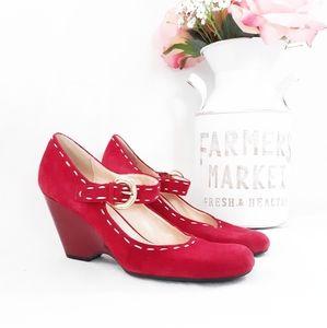 Franco Sarto Red MaryJane Wedges